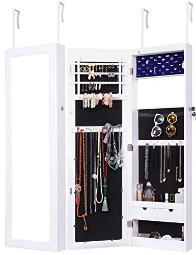 - Ylu Yni Armoire Jewelry Box 6 LEDs Wall Jewelry Cabinet Lockable Hanging Door Jewelry Armoire with 2 Drawers YK-D18010 (White)
