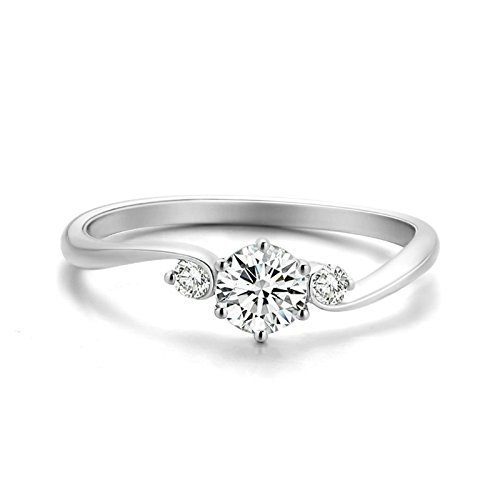 18K White Gold(Au750) 0.5ct Diamond(SI, F-G) Engagement Band Rings by AnaZoz