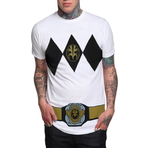 [Power Rangers White Ranger with Belt Costume T-Shirt-Large] (White Ranger Adult Costumes)