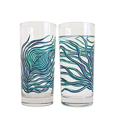 - Peacock Feather Glassware - Set of 2 Highball Glasses, Gift for Her, Everyday Drinking Glasses
