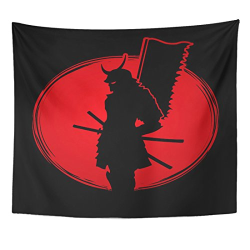 (Emvency Tapestry Flag Samurai Standing Designed on Sunset Graphic Warrior Mask Home Decor Wall Hanging for Living Room Bedroom Dorm 50x60 inches)
