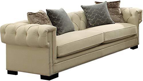 Acme Furniture 54245 Eulalia Sofa with 4 Pillows, Cream Polished Velvet