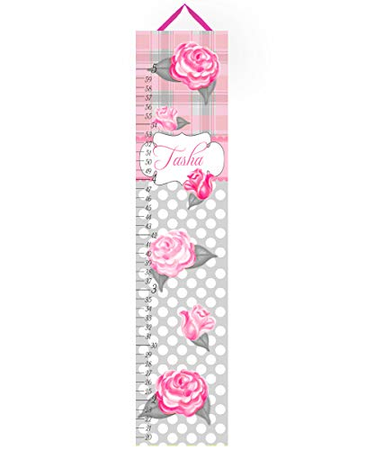 Toad and Lily Canvas GROWTH CHART Shabby Cottage Roses Plaid Pink Grey Garden Flowers Girls Bedroom Baby Nursery Art Personalized Growth Chart GC0033