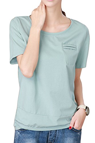 Top 1/2 Sleeve (AsherFashion Women's Round Collar Pure Color Cotton 1/2 Sleeve T-Shirt Blouses (M, Light Green))