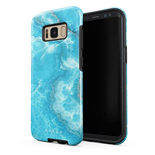 BURGA Phone Case Compatible with Samsung Galaxy S8 Plus Sky Blue Teal Marble Turquoise Azure Ocean Cute Sea Waves Bright Stone Heavy Duty Shockproof Dual Layer Hard Shell + Silicone ()