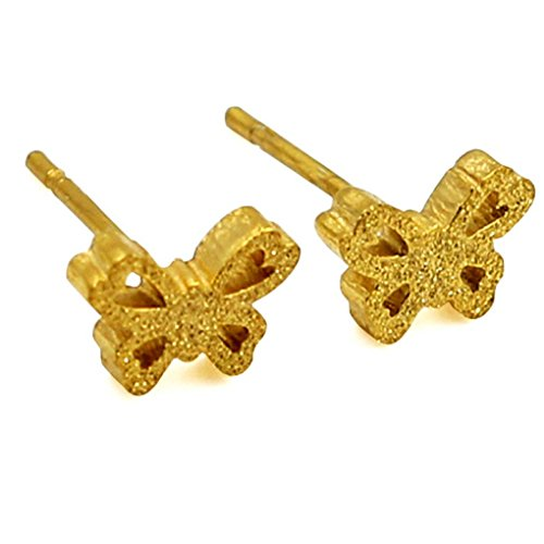 fonk: Gold Steel Butterfly Shape With Crystal Fashion Stud Earrings For Women Stainless Steel