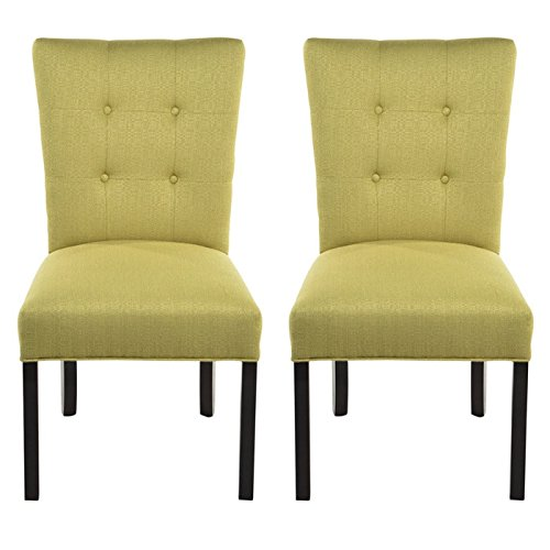 Sole Designs La Mode Collection Fanback Dining Chair, 4 Button Stitched Side Chair, Ivy (Set of 2)