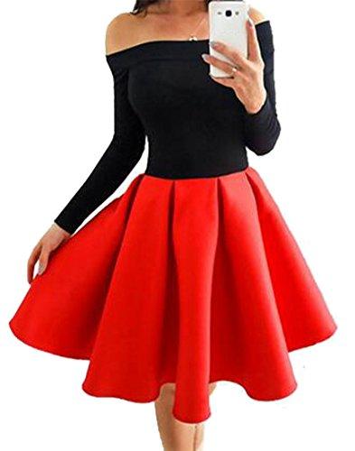 Cruiize Des Femmes De Manches Longues Classique De Grande Hauteur Hors Robe De Fusée Épissure Épaule Rouge