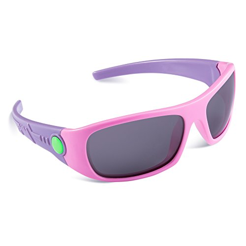 SEEKWAY Kid's Polarized Silicon Rubber Sunglasses For Toddlers Children Age 3-10 SRK808(Pink,Black Polarized Lens)