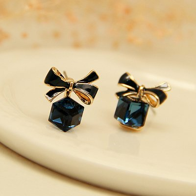 (s925 silver needle crystal earrings Austrian crystal bow earrings women girls elegant simple jewelry)