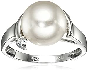 Sterling Silver 10mm White Shell Pearl and Cubic Zirconia Ring, Size 5