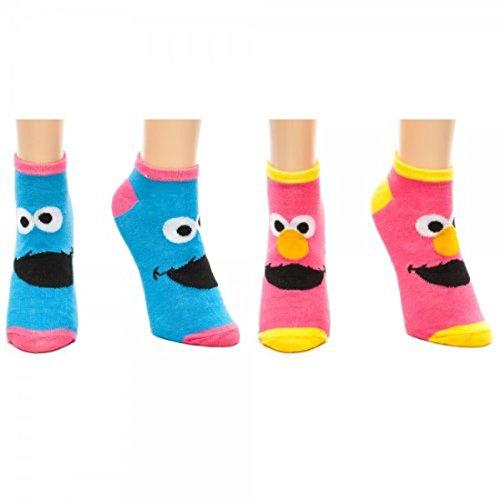 Sesame Street Elmo & Cookie Monster Ankle Sock PPK of TWO Pink Blue Logo ()