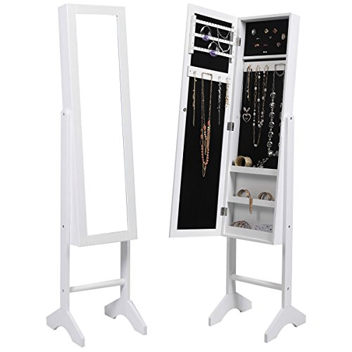 Smart Design Mirror Jewelry Cabinet Armoire Mirror Organizer with stand (White) by Trendy-Product