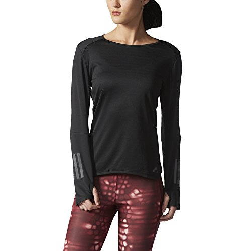 Adidas Women's Running Response Long Sleeve Tee, Black, S...