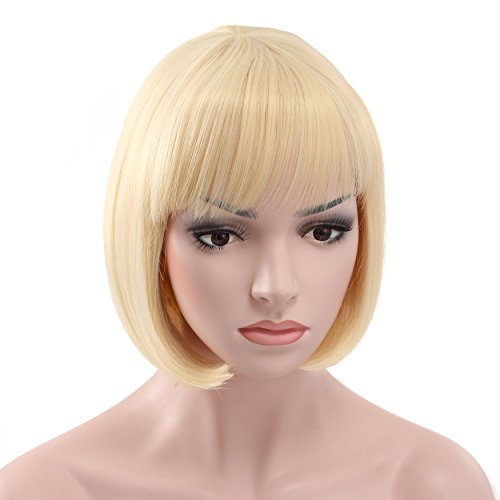 OneDor 10 Short Straight Flapper Bob Heat Friendly Cosplay Party Costume Halloween Hair Wig (613#-Pre Bleach Blonde)