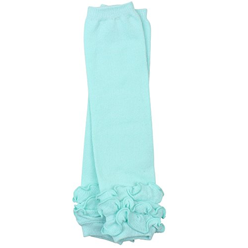 (juDanzy ruffled leg warmers for baby or toddler girls (Newborn (up to 12 pounds), Aqua Triple Ruffle))