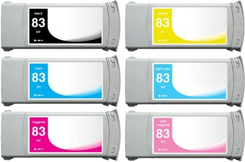 Bulk 83 HP Remanufactured Wide Format Cartridges, Assorted Colors, Black, Cyan, Light Cyan, Yellow, Magenta, Light Magenta: CC4945 (6 Assorted Cartridges) (83 Cartridge Light)