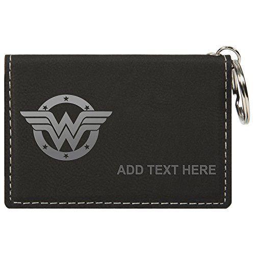 Personalized Engraved Wonder Woman Logo Faux Leather Keychain Wallet Bk & (Logo Leather Chain Wallet)