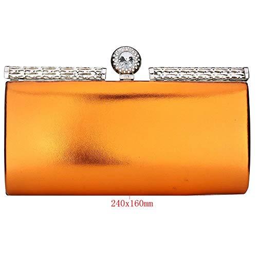 Luxury Exquisite Leather Evening Sparkling Women's Designer Purse Clutch EROUGE Patent Orange Handbag 5WIBUqz