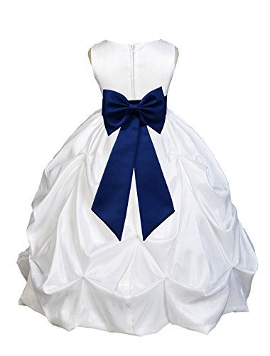 ekidsbridal White Satin Taffeta Pick-Up Bubble Flower Girl Dress Holy Baptism Dress 301T 4