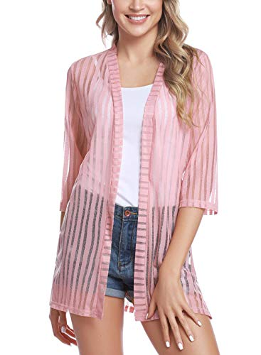 (Sykooria Girls Womens Long Sheer Chiffon Cardigans 3/4 Sleeve Open Front Cover Up Sweaters, Pink Stripes-147, Large)