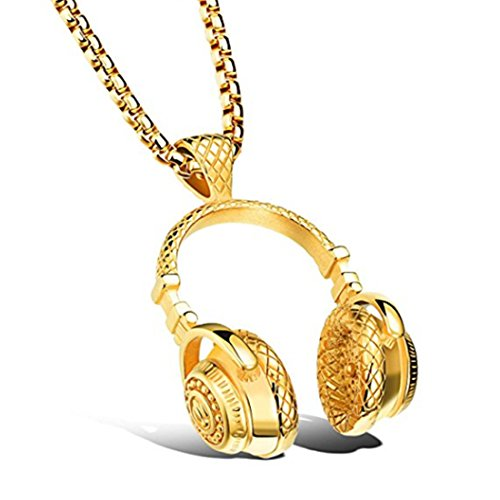 Chimoly Men Titanium Stainless Steel Necklace Music Earphone Headphone Pendant Jewelry Chain Punk Style Gold 21.6