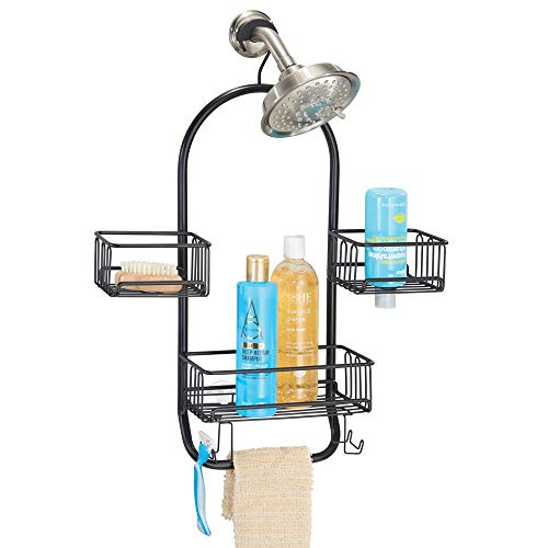 mDesign Modern Metal Wire Bathroom Tub & Shower Caddy, Hanging Storage Organizer Center - 2 Wash Cloth/Razor Hooks, 3 Baskets - for Bathroom Shower Stalls, Bathtubs, Rust Resistant Steel - Matte Black ()