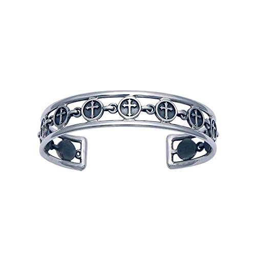 Woman's Openwork Sterling Silver Florentine Cross Cuff Bracelet by Wild Things