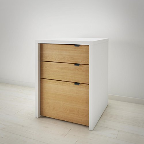 Nexera 211239 Chrono 3-Drawer Filing Cabinet, White/Natural Maple