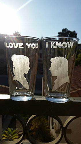 (Star Wars Han & Leia Inspired Pint Glass Set Beer Glasses I Love You I)