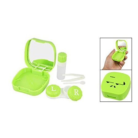 Easyinsmile Cute Contact Lens Case Kit Holder Storage Mirror Box for Home or Travel Use (blue)