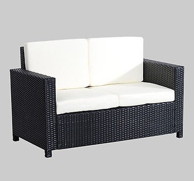 Outsunny Sofa Doble de Mimbre Ratan 130x70x80cm Muebles de Jardin de Ratan 5 Piezas