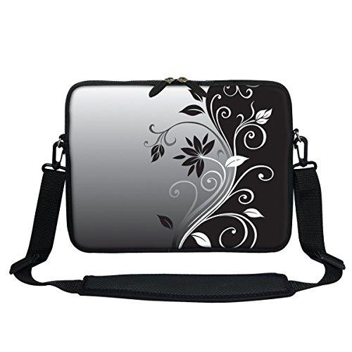 Meffort Inc 11.6 Inch Neoprene Laptop Sleeve Bag Carrying Case with Hidden Handle and Adjustable Shoulder Strap (Black Gary Swirl) (Handles Swirl)