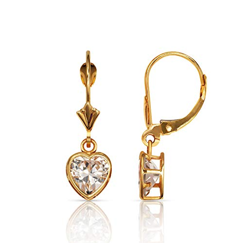 Dangle Gold Heart 14k Earring - Jewelryweb Solid 14k Yellow Gold Birthday Heart-Shaped Cubic Zirconia Bezel Dangle Leverback Earrings (6mm x 25mm) (April-Clear)