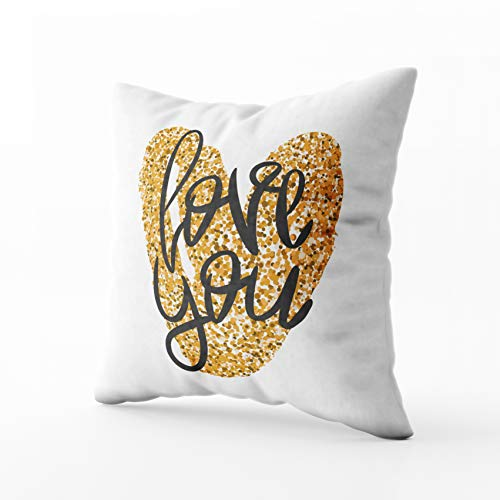 HerysTa Easter Home Decorative Cotton Pillow Covers 18X18inch Invisible Zipper Cushion Cases Romantic Poster Black Handwritten Phrase Love You Gold Glitter Handdrawn Square Sofa Bed Décor ()