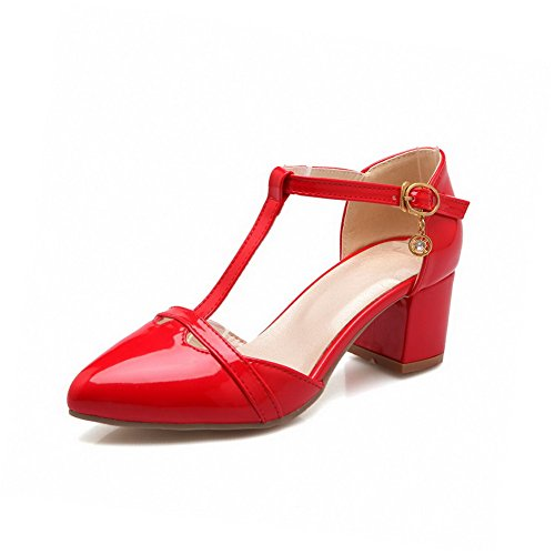 VogueZone009 Women's Buckle Closed Pointed Toe Kitten Heels Pu Solid Pumps Shoes Red CFg1hS