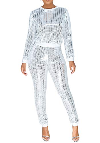 Womens Sexy 2 Piece Outfit Top and Skinny Legging Jogging Set Slim Fit Tracksuit Party White M