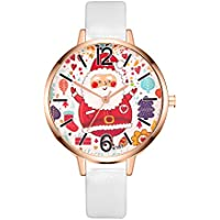 Creazy Women Watch Christmas Leather Band Analog Quartz Vogue Wrist Watches Gift (White)