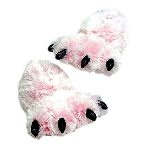 (Wishpets Animal Slippers - Pink Furry Tiger Slippers Plush Toy -)