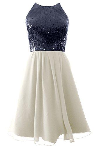 MACloth Vintage Halter Short Bridesmaid Dress Sequin Chiffon Party Formal Gown Dark Navy-Ivory