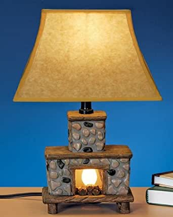 Hand painted ceramic fireplace lamp with 3 way lighting for Three way fireplace