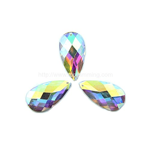 Crystal AB Flat Back Tear Drop 10mm x 14mm Sew on or Glue on Resin stone Gems Selling Per Pack/180 pcs by Top Trimming