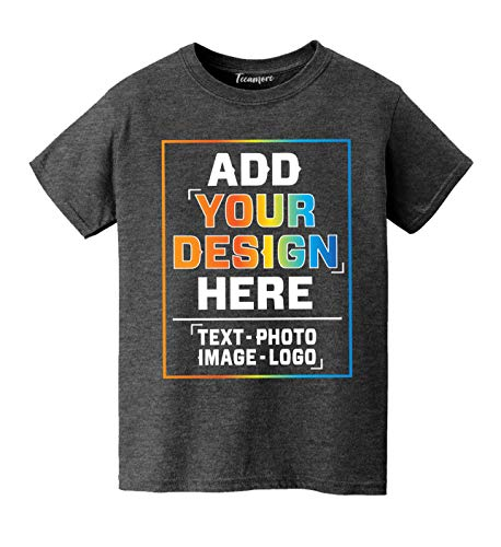 Custom Personalized T Shirt for Youth - Kids Design Your Own Add Your Text Image Heather Charcoal (T Christmas Shirt Own Make Your)