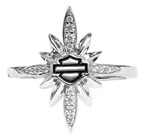 Harley Davidson Ring (Harley-Davidson Womens Starburst Encrusted Bling Ring, Silver Finish HDR0457 (8))