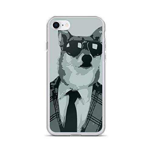 iPhone 7/8 Case Anti-Scratch Creature Animal Transparent Cases Cover Cool Dog in A Suit Animals Fauna Crystal Clear]()