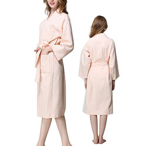 eDealMax Cotton Lady Waffle Kimono accappatoio con Cintura Spa Robe ginocchio Sleepwear XXL Rosa by eDealMax (Image #4)