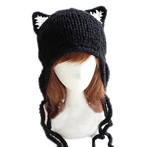 - ALLDECOR Handmade Knit Cap for Women's March Crochet Beanie Hat Cute Pussy Cat Ears