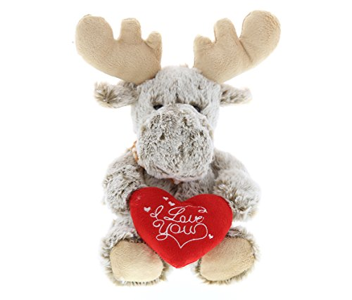 DolliBu Sitting Moose I Love You Valentines Stuffed Animal - Heart Message - 11 inch - Wedding, Anniversary, Date Night, Long Distance, Get Well Gift for Her, Him, Kids - Super Soft Plush