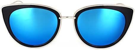 SojoS Womens Fashion Metal Frame Flash Mirror Revo Lens Cat Eye Sunglasses SJ1002