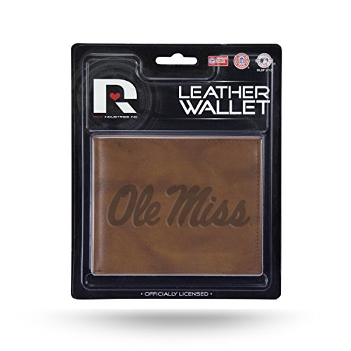 NCAA Mississippi Ole Miss Rebels Embossed Leather Billfold Wallet with Man Made Interior